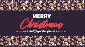 Веселое рождество со снеговиком, Санта Клаусом, колоколами, и анимацией тросточек конфеты иллюстрация вектора