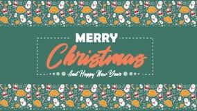 Веселое рождество со снеговиком, Санта Клаусом, колоколами, и анимацией тросточек конфеты иллюстрация штока