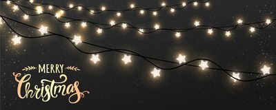 Веселое рождество типографское на темной предпосылке с гирляндами украшений Xmas накаляя белыми, свете, звездах иллюстрация штока