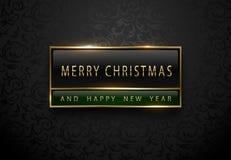 Веселое Chistmas и счастливое знамя Нового Года Наградной черный зеленый ярлык с золотой рамкой на черной предпосылке цветочного  стоковые фото