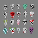 Веселое emoji с черепами Смогите быть использовано как стикеры и изображение на футболке иллюстрация вектора