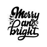 Весело и ярко Литерность и каллиграфия рождества с декоративными элементами дизайна Карточка вектора праздничная иллюстрация штока