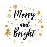 Весело и ярко Милый знак рождества с золотым деревом, снегом на белизне иллюстрация вектора