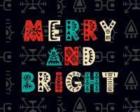Весело и ярко приветствие рождества карточки иллюстрация вектора