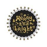 Весело и ярко Фраза каллиграфии золотая Рукописный яркий блеск приправляет литерность Фраза Xmas Элемент нарисованный рукой иллюстрация штока