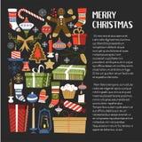 Веселые подарки на рождество и символы подарков вектора зимнего отдыха иллюстрация штока