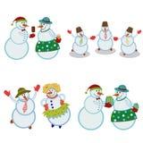 Веселые счастливые снеговики иллюстрация вектора