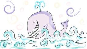 Веселый кит в море иллюстрация штока