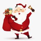 Веселый Санта Клаус с сумкой подарка вполне подарочных коробок и настоящего момента, тросточки конфеты и колокола звона также век Стоковые Изображения