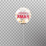 веселый xmas Воздушный шар гелия рождества белый прозрачный изолированный в воздухе Стоковое фото RF