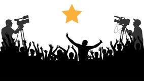 Веселя концерт людей толпы, партия Вентиляторы спорт рукоплескания Оператор снимает знаменитость иллюстрация штока