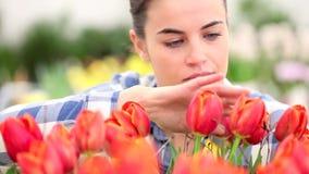 Весеннее время, усмехаясь женщина в саде с тюльпанами видеоматериал