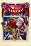 Веселая старомодная карточка акварели рождества x-mas с Сантой a Стоковые Фотографии RF