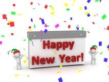 веселить и календарь характеров 3D с счастливым текстом Нового Года Стоковое фото RF