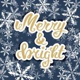 Весело и ярко Литерность руки приветствию, каллиграфия руки Рождественская открытка вектора праздничная иллюстрация штока