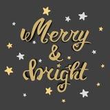 Весело и ярко Литерность руки приветствию, каллиграфия руки Рождественская открытка вектора праздничная иллюстрация вектора