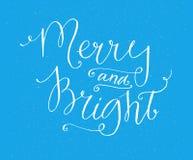 Весело и ярко Оформление вектора на голубой предпосылке Винтажная литерность для дизайна поздравительных открыток рождества иллюстрация вектора