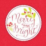 Весело и ярко Причудливая рождественская открытка с бесплатная иллюстрация