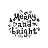 Весело и ярко Фраза каллиграфии рождества Рукописная щетка приправляет литерность Фраза Xmas Дизайн нарисованный рукой иллюстрация штока