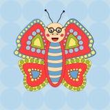 Веселые стекла бабочки на безшовной предпосылке Стоковое Изображение RF