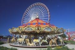 Веселый идут круг и колесо Ferris, пристань военно-морского флота, Чикаго, Иллинойс Стоковые Фотографии RF