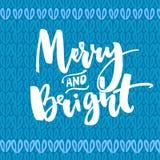 Веселый и яркий тип приветствие рождества карточки Текст вектора рукописный на текстуре связанной синью иллюстрация штока