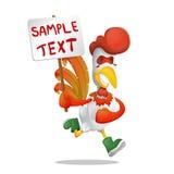 Веселый петух бежит с плакатом в его руке элемент конструкции большой бесплатная иллюстрация