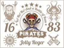 Веселый Роджер - элементы дизайна пирата вектор комплекта сердец шаржа приполюсный иллюстрация вектора