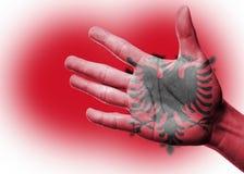Веселя вентилятор с красить национальный флаг Албании Стоковое Изображение RF