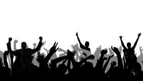 Веселя силуэты толпы с альфой иллюстрация штока