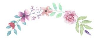 Весна гирлянды роз пинка венка лист свода цветка акварели Стоковые Изображения