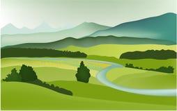 весна горы ландшафта иллюстрация вектора