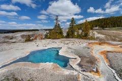 Весна голубой звезды, верхний таз гейзера, национальный парк Йеллоустона, Вайоминг стоковая фотография rf