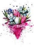 весна иллюстрации букета предпосылки декоративная стоковое изображение