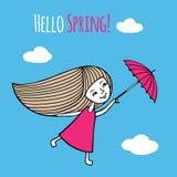 Весна карточки здравствуйте! иллюстрация штока