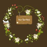 Весна карточки флористического сообщения рамки винтажного деревянная Стоковая Фотография RF