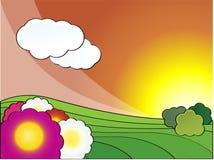 весна ландшафта после полудня Стоковые Изображения