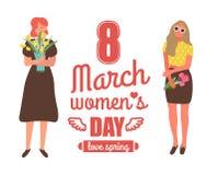 Весна любов, праздник женщин 8-ое марта международный иллюстрация вектора