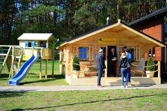 Весна - начало сезона конструкции в городе Вильнюса Стоковое Изображение