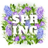Весна на предпосылке с цветками весны вектор Бесплатная Иллюстрация