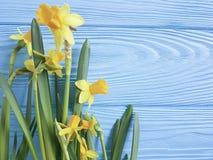 Весна приглашения Daffodils красивая элегантная на голубой деревянной предпосылке свадьбы романтичной Стоковые Фото