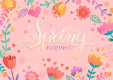 Весна приходя карточка с литерностью Стоковое Изображение