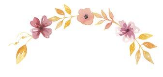 Весна свадьбы гирлянды мустарда свода венка лета персика акварели Стоковые Фотографии RF