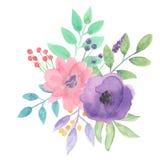 Весна свадьбы пинка лета букета акварели фиолетовая выходит листва покрашенная рукой Стоковое Фото