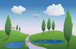 весна сельской местности иллюстрация вектора