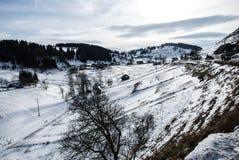 Весна Сцена ландшафта горы Fundata, румынские Карпаты Стоковые Фотографии RF
