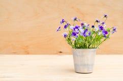 Весна цветет в винтажной вазе на деревянной предпосылке, деревенском стиле Стоковая Фотография RF