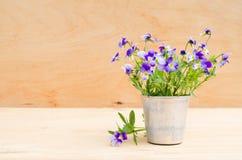 Весна цветет в винтажной вазе на деревянной предпосылке, деревенском стиле Стоковая Фотография
