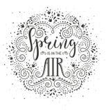 весна человека рук цветений воздуха Вручите вычерченному wirh дизайна литерности стилизованные цветки и эффектные демонстрации иллюстрация штока
