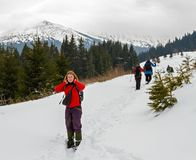 Весна trekking в горах Стоковое Изображение RF